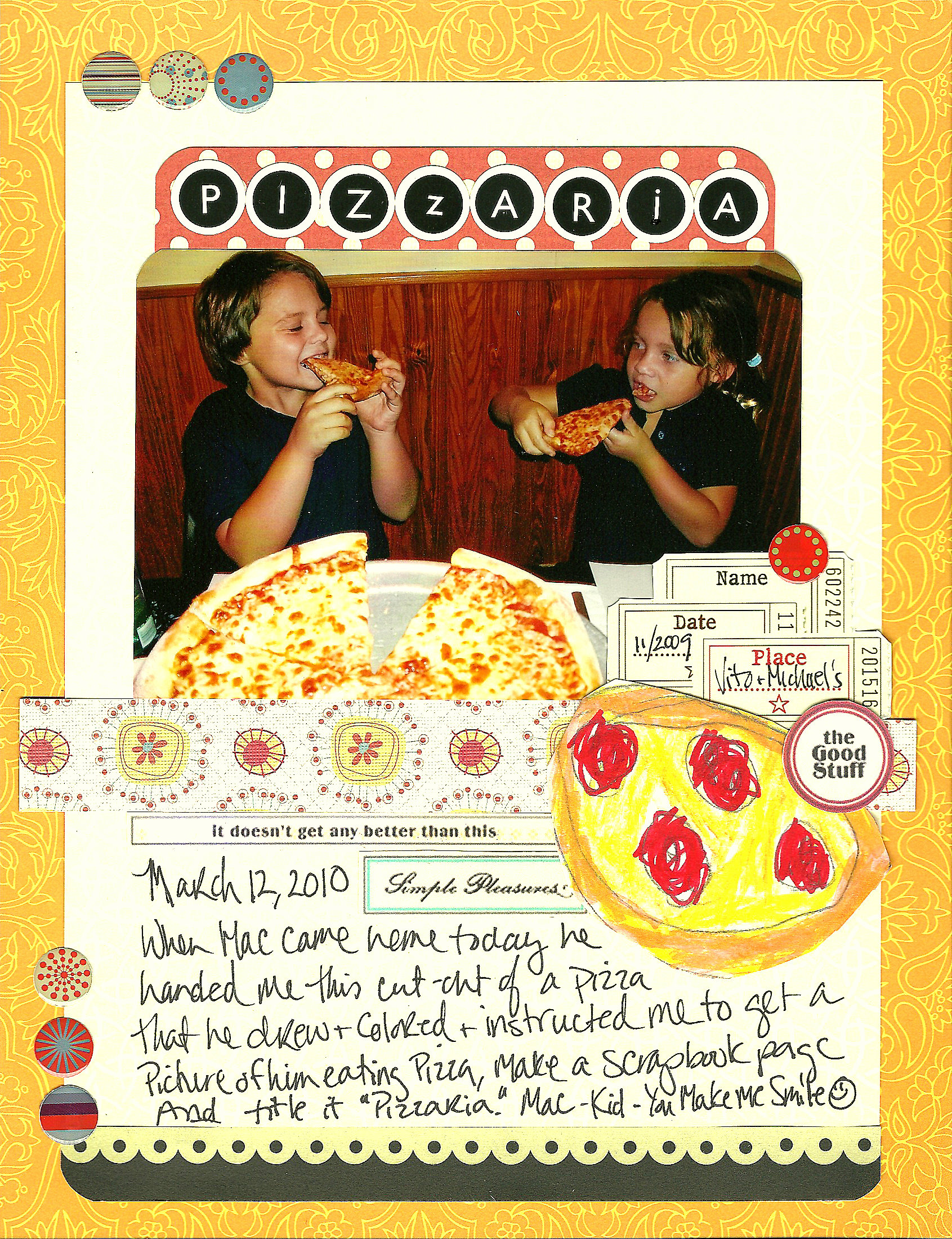 How to scrapbook on mac - The Journaling Reads March 12 2010 When Mac Came Home Today He Handed Me This Cut Out Of A Pizza That He Drew And Colored And Instructed Me To Get A