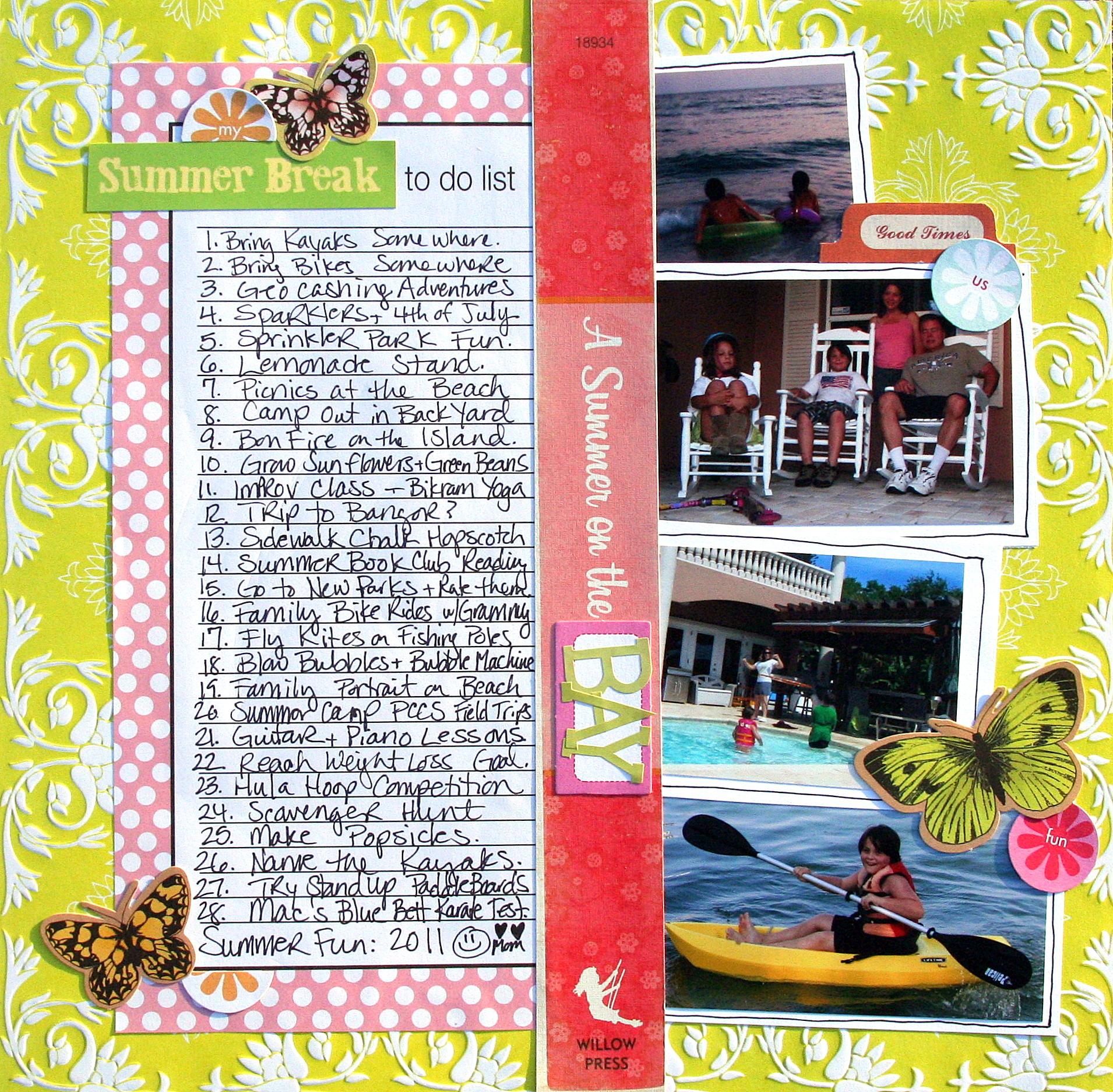 Scrapbook ideas list - Summerlist2011