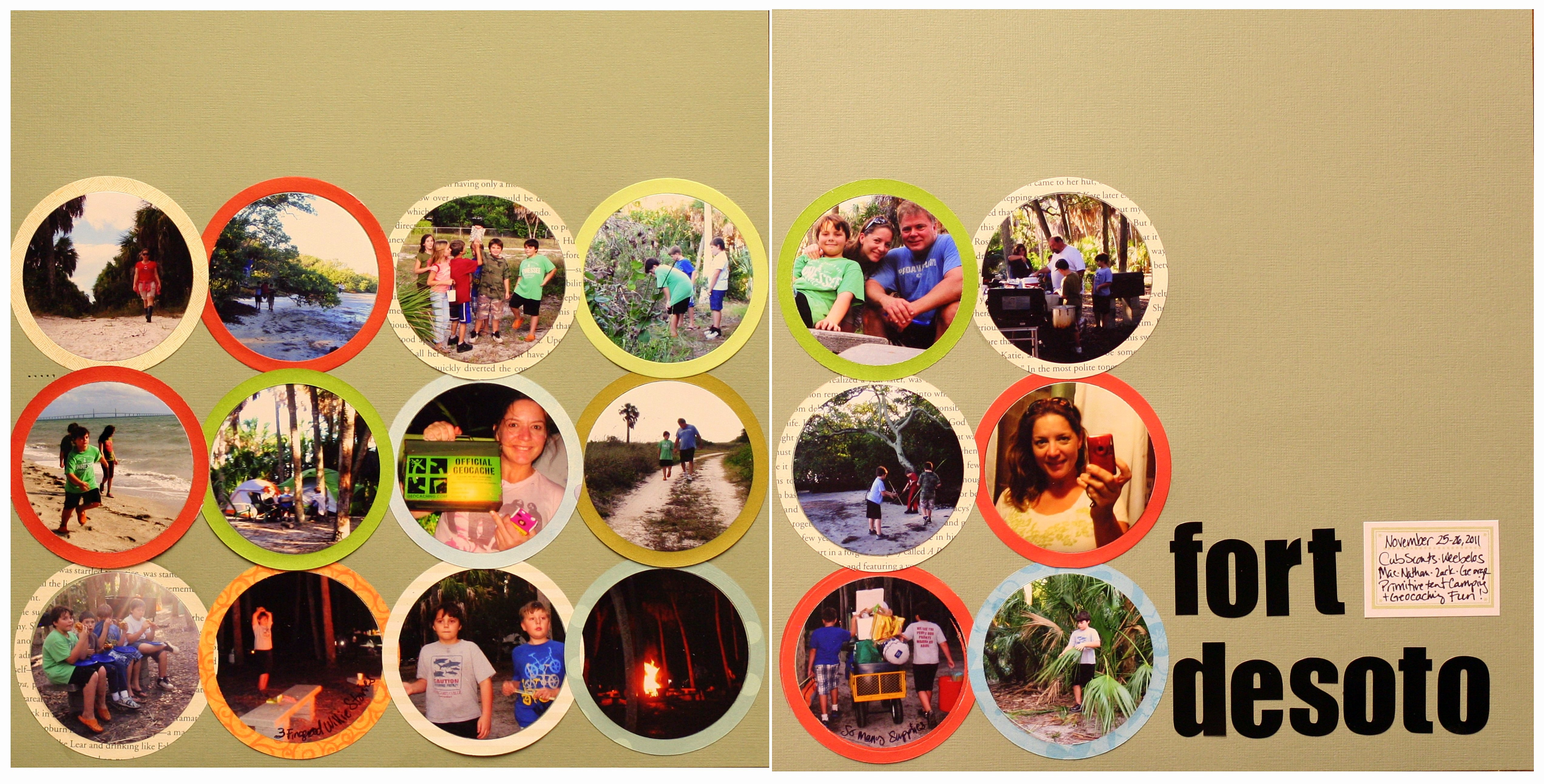 Scrapbook ideas goodbye - Cub Scout Camping Trip Two Page Scrapbook Layout With 18 Photos Using Circle Die Cutters
